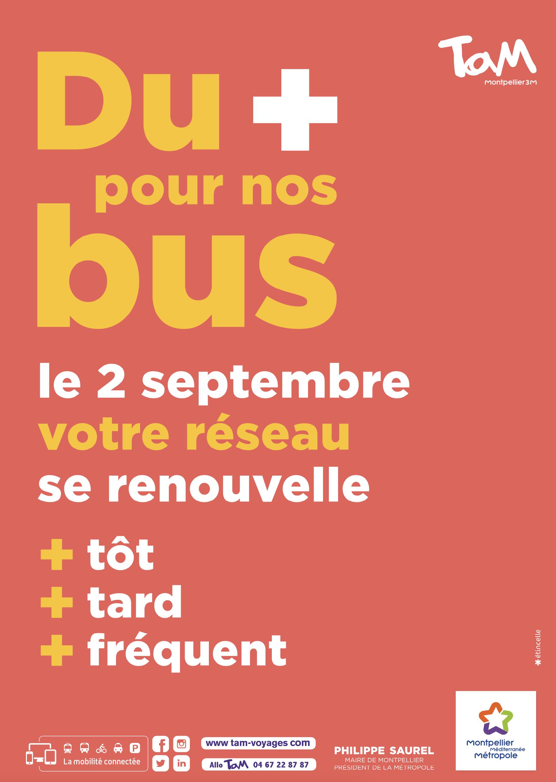 Campagne de communication du nouveau réseau de bus de Montpellier Méditerranée Métropole